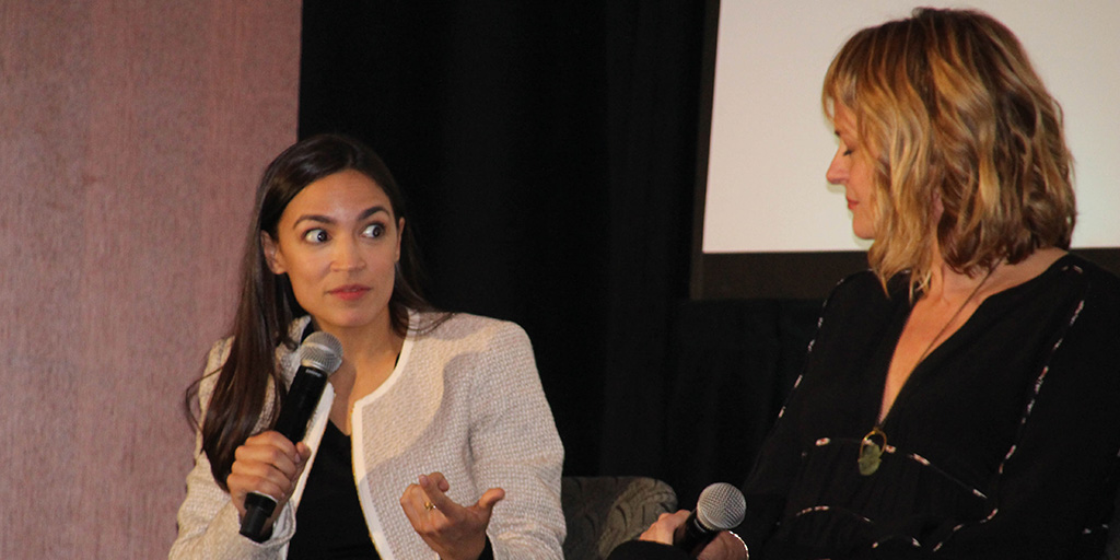 Alexandria Ocasio-Cortez speaking after a screening of Knock Down the House at Athena Film Festival on March 3, 2019.