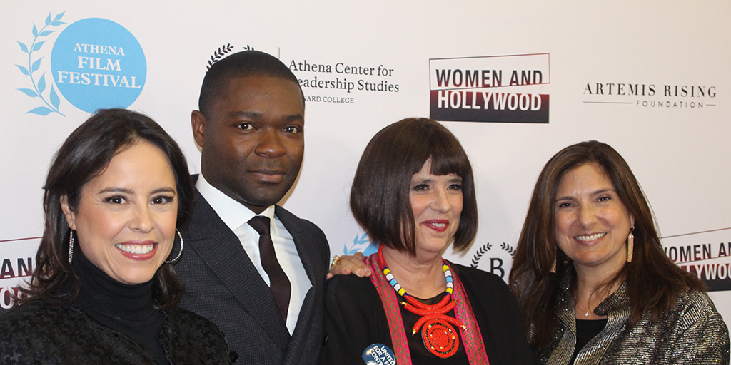 Patricia Riggen, David Oyelowo, Eve Ensler, and Regina K. Scully at the 2017 Athena Film Festival