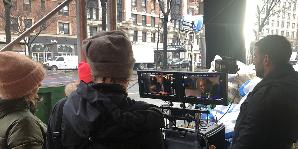 Billions crew monitoring what's shooting inside Red Farm on the UWS - February 6, 2020