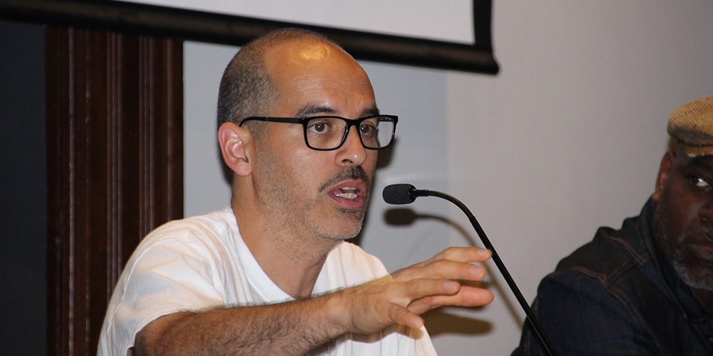 "Bobbito Garcia speaking after a ""Rock Rubber 45s"" screening at the <a href=""article.aspx?ID=3455"">Brooklyn Historical Society on September 27, 2018</a>."