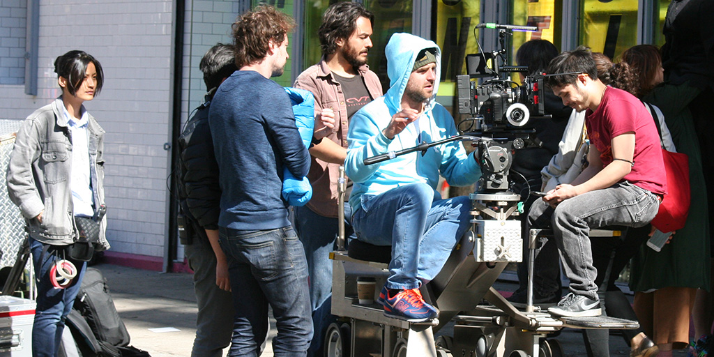 A camera crew working on location on the Lower East Side.