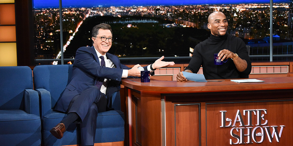 "Stephen Colbert and Lenard ""Charlamagne"" McKelvey - photo by Scott Kowalchyk for CBS"