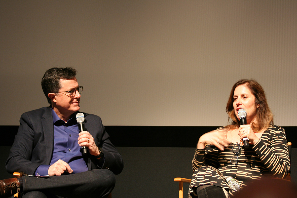 Stephen Colbert and Director/Producer Kahane Cooperman at SVA Theatre following screening of Joe's Violin