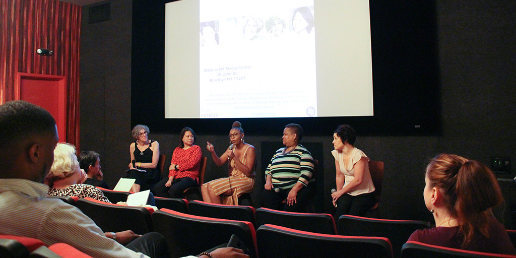L-R: Alexandra Juhasz, S. Casper Wong, Taylor K. Shaw, Ann Bennett, and Christine Bruno. Made in New York Media Center by IFP on July 22, 2019