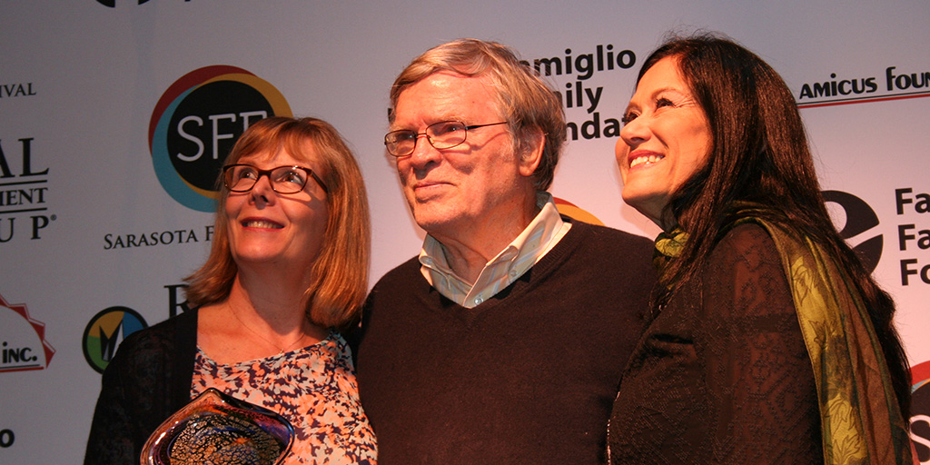 Chris Hegedus (filmmaking partner & wife), D A Pennebaker, and Barbara Kopple at the 2016 Sarasota Film Festival.