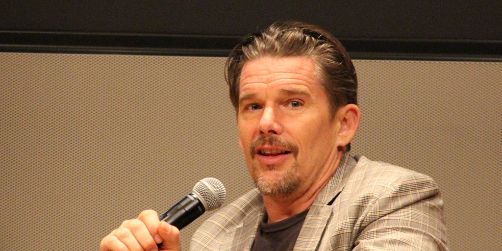 Ethan Hawke at the New York Public Library on the evening of August 23, 2018 promoting Blaze.