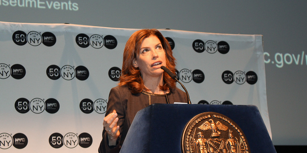 Julie Menin speaking at the Mayor's Office of Media and Entertainment 50 Years of Magic - Museum of Moving Image - June 8, 2016
