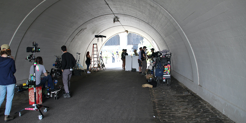 Crew set up inside a tunnel for shooting in Riverside Park.