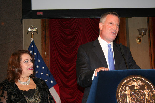 Film Commissioner Cynthia Lopez and Mayor Bill de Blasio at the Made In NY Awards 2014