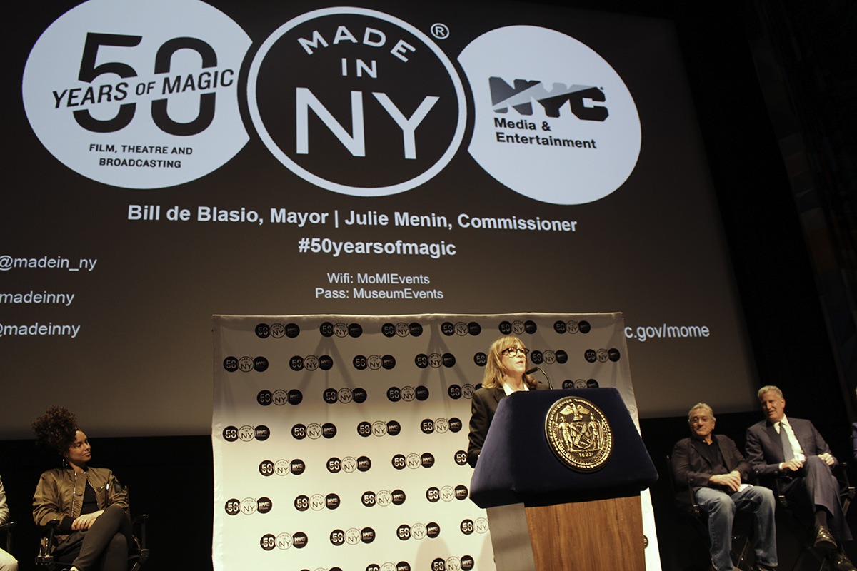 Alicia Keys, Jane Rosenthal (at podium), Robert De Niro, Mayor Bill de Blasio
