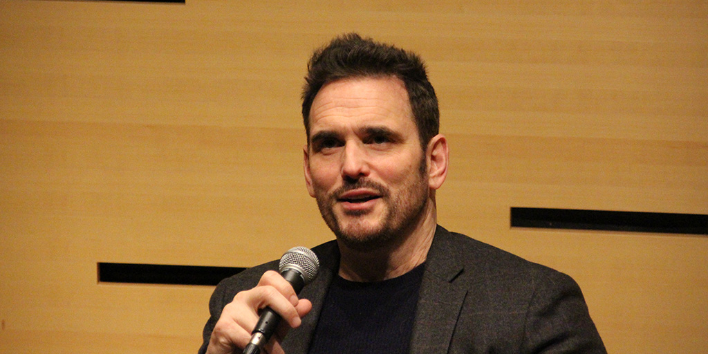 Matt Dillon speaking at Lincoln Center.