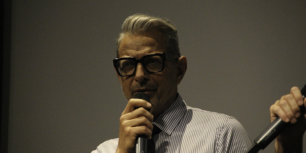 Jeff Goldblum speaking at a Q&A following a screening of The Mountain at IFC Center on July 26, 2019.