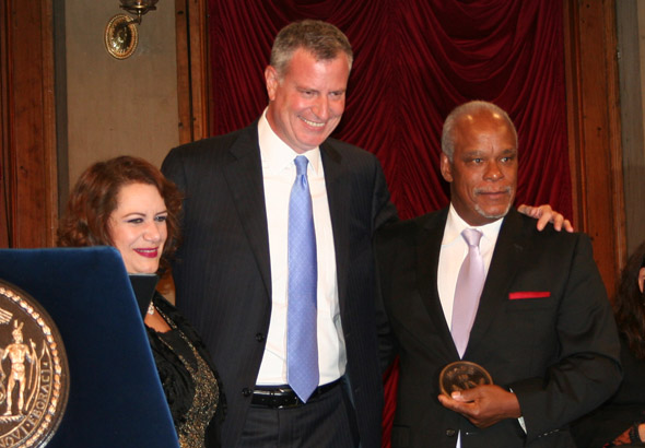 New York Film Commissioner Cynthia Lopez, Mayor de Blasio, and Made In NY Award Honoree Stanley Nelson