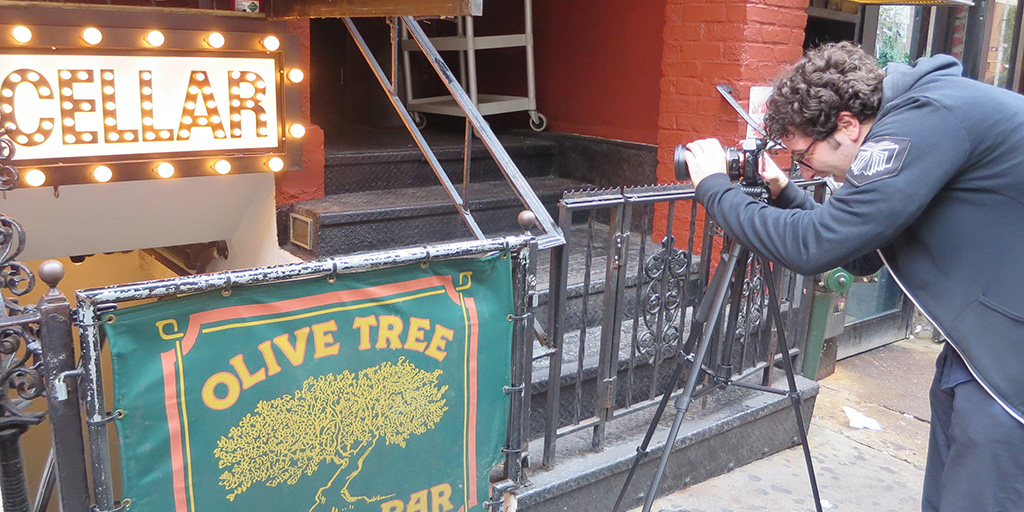 Nick Fituri Scown in front of the Comedy Cellar. Photo by Julie Seabaugh