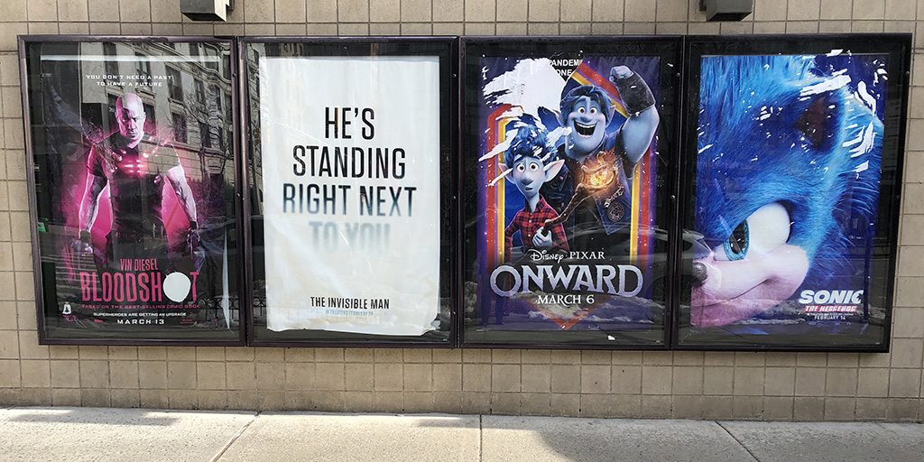 Movie posters outside the AMC at 84th and Broadway UWS as they remained for the entire 2020 pandemic year.