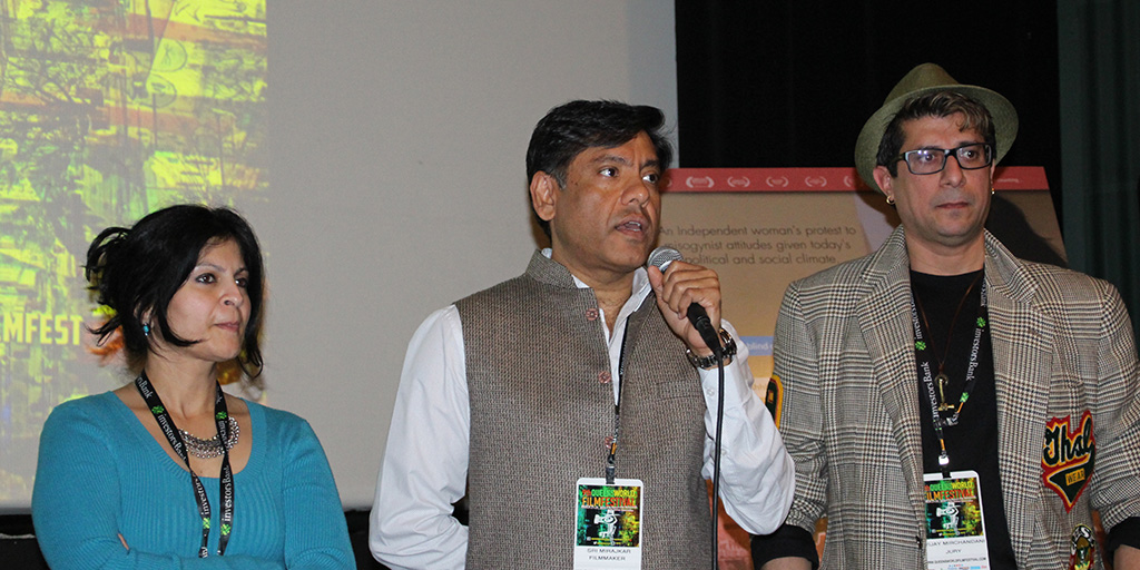 Actress Nalini Mirajkar, Director Sri Mirajkar, and Executive Producer Vijaykumar Mirchandani during Q&A after the screening.