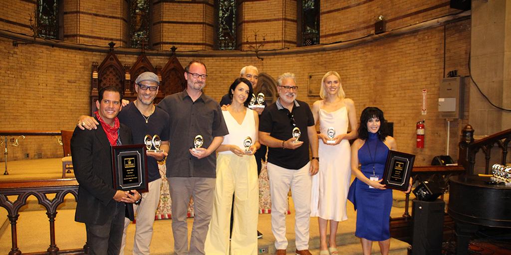 Award winners along with hosts Daniel Jordano (far left) and Toni Vitale (far right)