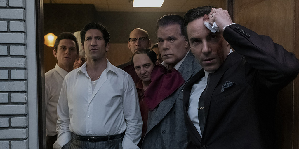 Billy Magnussen, Jon Bernthal, Corey Stoll, John Magaro, Ray Liotta, and Alessandro Nivola. Photo by Barry Wetcher