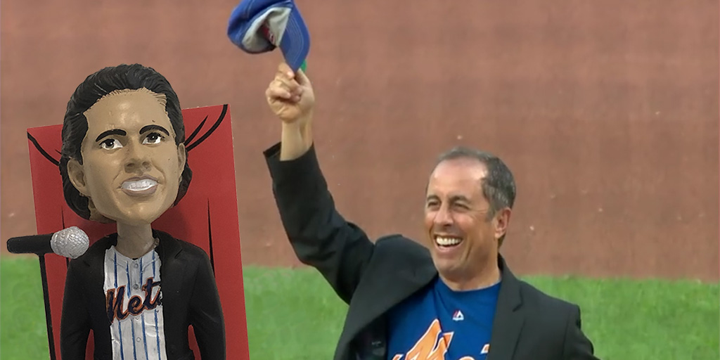 Bobblehead Jerry and Jerry Seinfeld throwing out the first pitch at Seinfeld Night for Phillies at Mets at Citi Field on Saturday, July 5th.