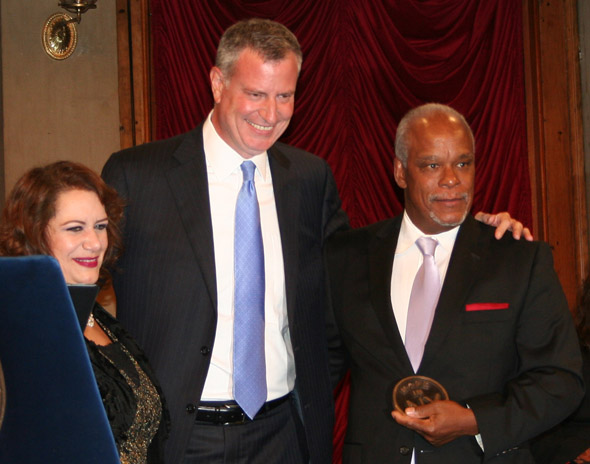 Stanley Nelson receiving Made in NY Award 2015 (pictured with former MOME Commissioner Cynthia Lopez and Mayor Bill de Blasio)