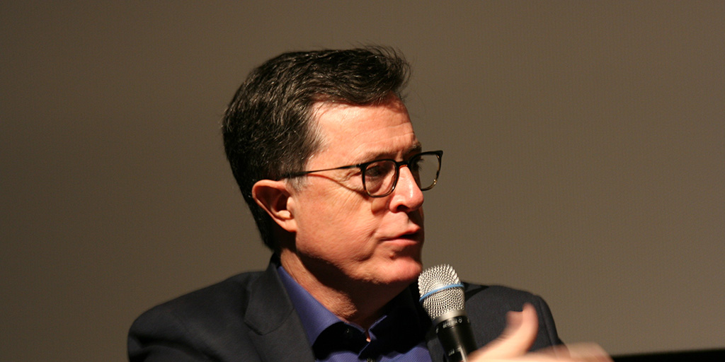 Stephen Colbert, host of the 69th Emmy Awards, is pictured here at a Q&A following a screening of Joe's Violin at the SVA Theater on February 10, 2017.