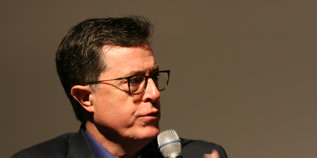 Stephen Colbert is pictured here at a Q&A following a screening of Joe's Violin at the SVA Theater on February 10, 2017.