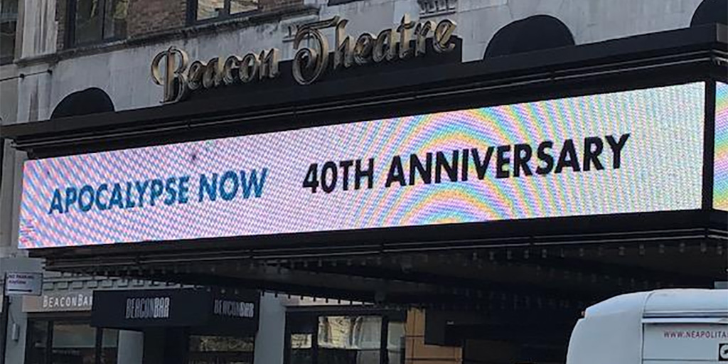 Marquee of the Beacon Theatre which holding screenings of Apocalypse Now and Spinal Tap.