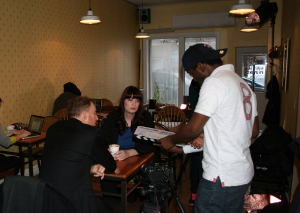 On set of Utopian Codex at Mountain Province. Actors John Long and Destiny Shegstad along with Director Dexter David.
