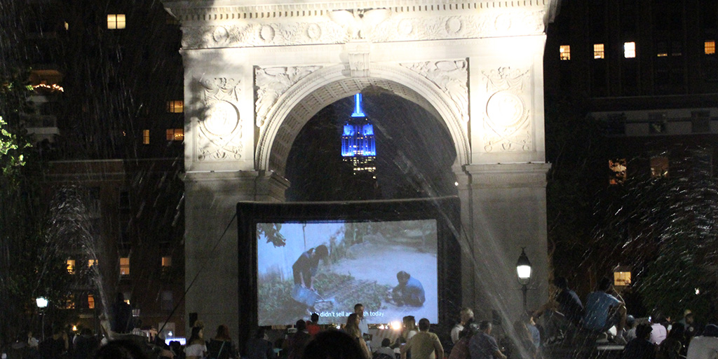 Night screening at Washington Square Park