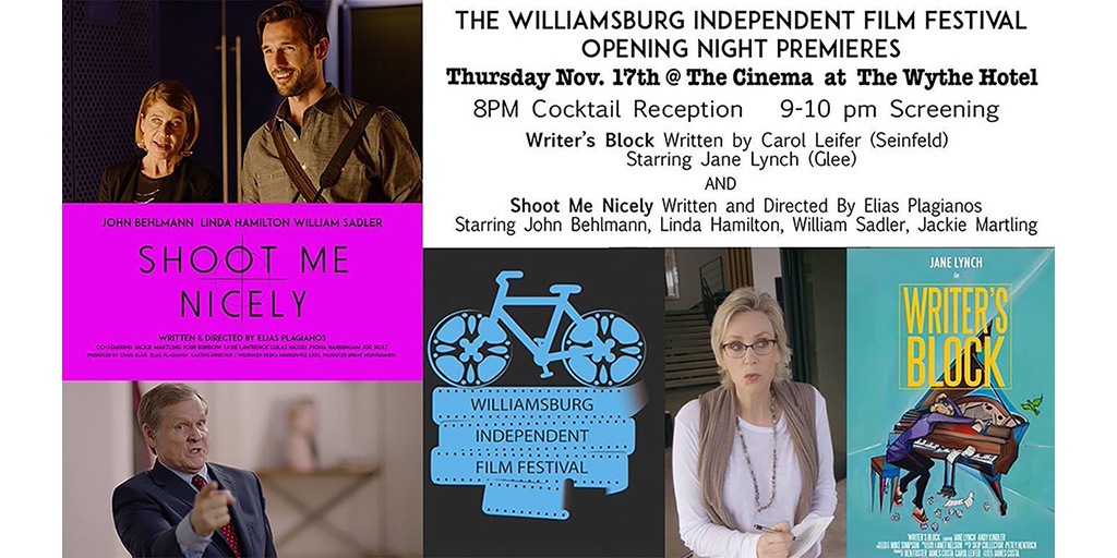 Williamsburg Independent Film Festival opens with Shoot Me Nicely and Writer's Block