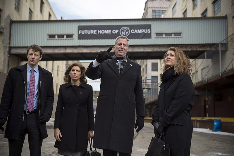 NYCEDC President James Patchet, Commissioner of Office of Media & Entertainment Julie Menin, Mayor de Blasio, and Deputy Mayor for Housing and Economic Development Alicia Glen at future site of Made in NY Campus